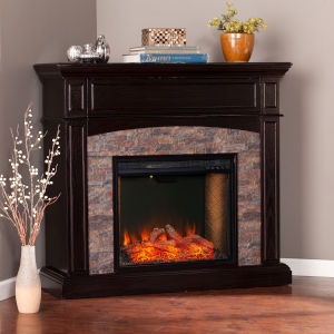 Grantham Ebony and Black Convertible Smart Electric Fireplace
