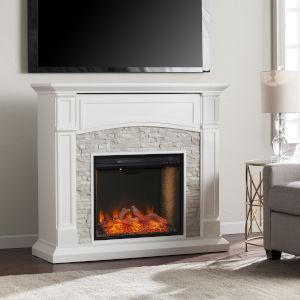 Seneca Crisp White Smart Media Electric Fireplace