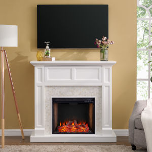 Nobleman White Smart Media Electric Fireplace with Tile Surround