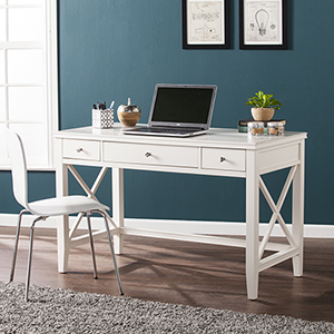 Larksmill White and Brushed Silver Desk