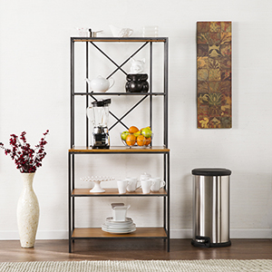 Patrick Matte Black with Honey Pine Bakers Rack