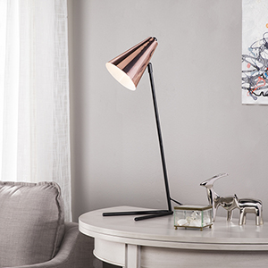Andrews Matte Black with Copper LED Table Lamp