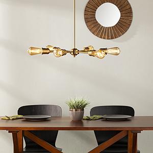 Yarrow Antique Brass Six-Light Pendant Lamp