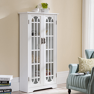 White with Antique Silver Cabinet