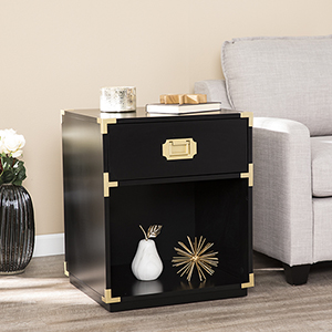 Campaign Black and Brass Side Table