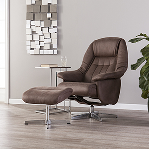 Bridger Mocha Brown and Silver Chair
