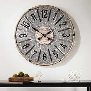 Rayonier Aged Galvanized Metal Wall Clock