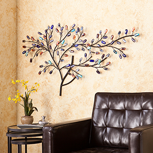 Brenchan Black with Multi Toned Stones Wall Sculpture