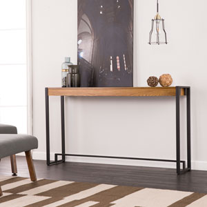 Holly and Martin Macen Weathered Oak and Black Metal Console
