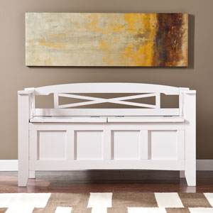 Cutler Sandy White Storage Bench