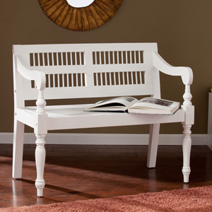 Solid Mahogany Turned-Leg Bench - White