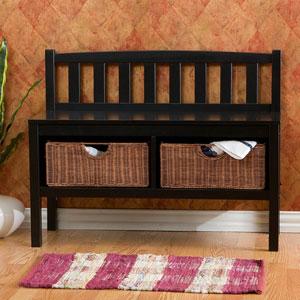 Black Bench Including Rattan Baskets