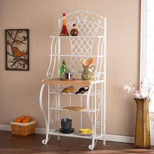 White Trellis Bakers Rack