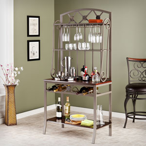 Brown Decorative Bakers Rack with Wine Storage