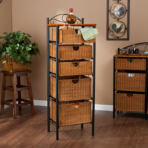 Black Iron Five Drawer Unit
