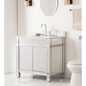 Mirage Double-Door Bath Vanity Sink w/ Marble Top