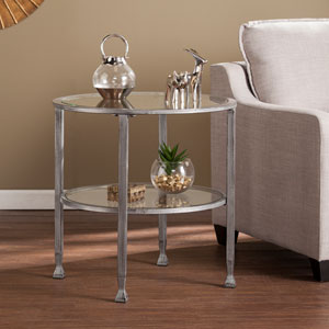 Silver Jaymes Metal and Glass Round End Table