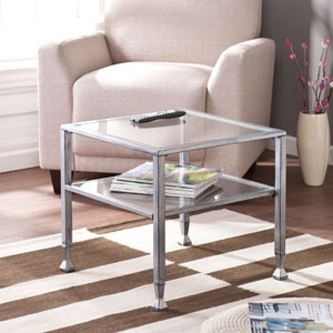 Silver Metal and Glass Cocktail Table
