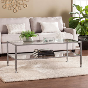 Jaymes Metal and Glass Rectangular Open Shelf Cocktail Table