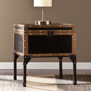 Drifton Travel Antique Black Trunk End Table