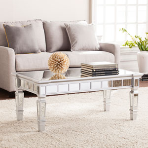 Glenview Glam Mirrored Rectangular Cocktail Table