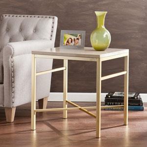 Orinda Cream Stone Faux Stone End Table