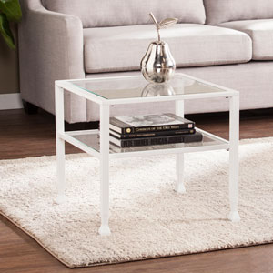Jaymes White Metal and Glass Bunching Cocktail Table