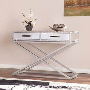 Lazio Industrial Mirrored Console Table