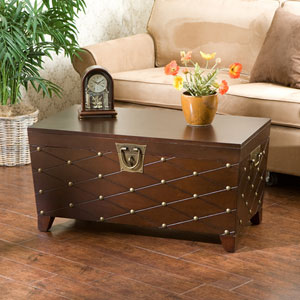 Espresso Nailhead Cocktail Table Trunk