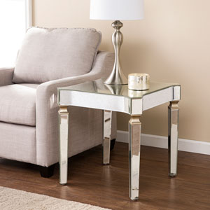 Roubaix Antique Mirrored End Table - Glam Style