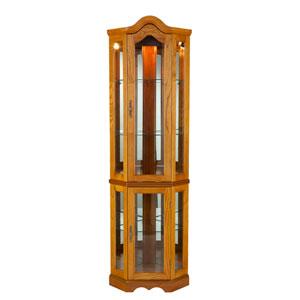 Oak Lighted Corner Curio Cabinet