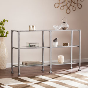 Jaymes Silver Metal and Glass 3-Tier Console Table
