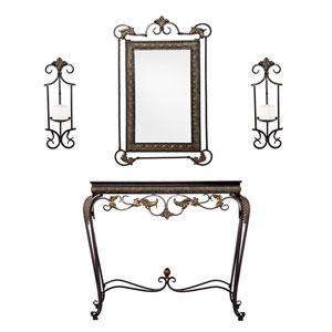 Capshaw Bronze Accented Console/Mirror/Sconce Pair 4-Piece Set