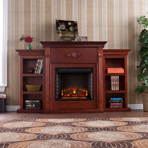 Tennyson Mahogany Electric Fireplace with Bookcases