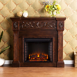 Espresso Calvert Carved Electric Fireplace