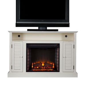 Antebellum White Media Electric Fireplace