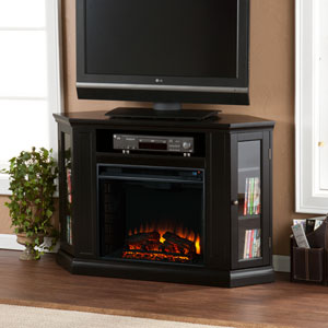 Claremont Black Convertible Media Electric Fireplace