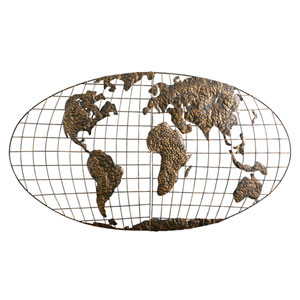 Iron World Map Wall Art