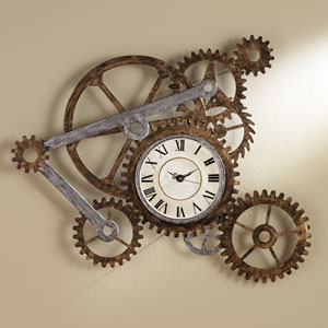 Multicolor Gear Wall Art with Clock