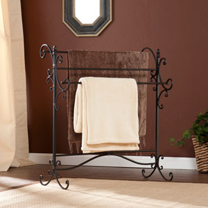 Black Metal Scroll Blanket Rack