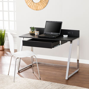 Telford Desk with USB- Black with Chrome