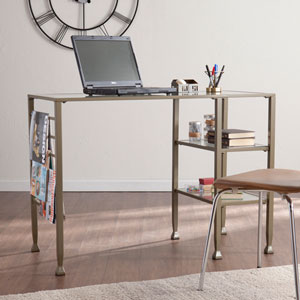Metal/Glass Writing Desk - Matte Gold