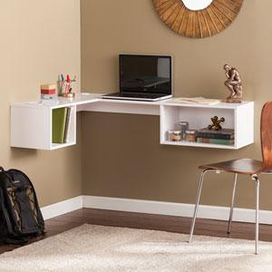 Fynn White Wall Mount Corner Desk