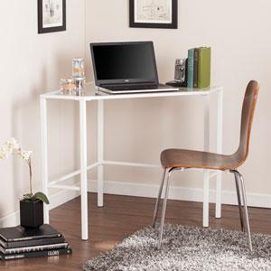 Keaton White Metal and Glass Corner Desk