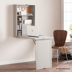 Fold-Out Convertible Gray Wall Mount Desk