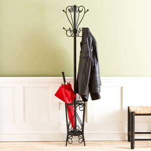 Black Scrolled Coat Rack with Umbrella Stand
