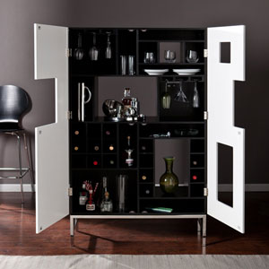 Black Shadowbox Wine Cabinet