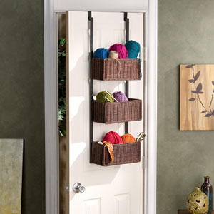 Espresso 3 Tier Over The Door Basket Storage