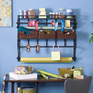 Wall Mount Craft Storage Rack w/ Baskets - Black w/ Espress