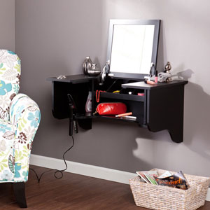 Black Wall Mount Ledge with Vanity Mirror